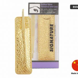 SIGNATURE GOLD SLANT TWEEZERS and CASE